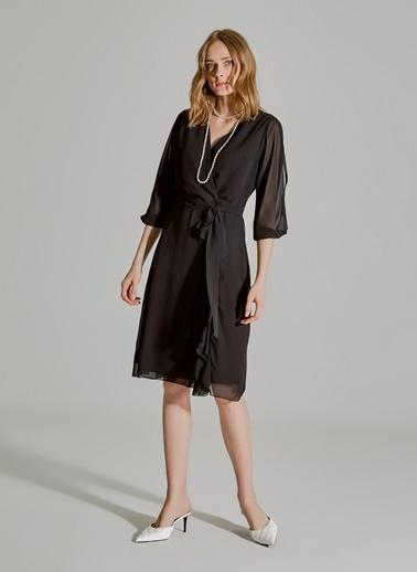 People By Fabrika Kol Detaylı Volanlı Şifon Elbise Siyah